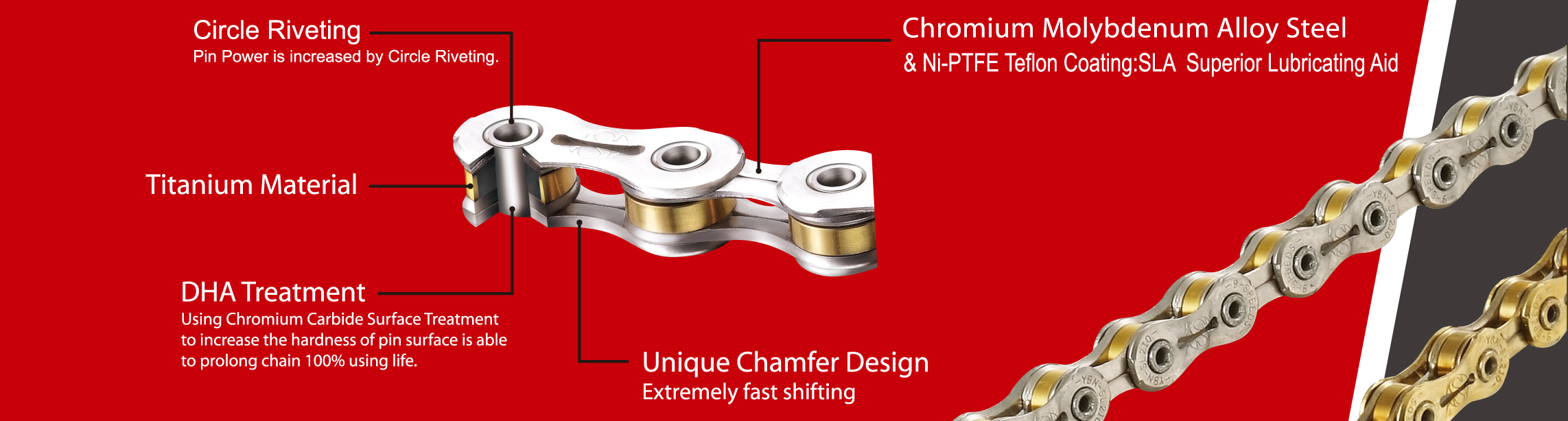 YBN SLA-211 Titanium 11 Speed Bike Chain 210g for SHIMANO SRAM CAMPAGNOLO Gold